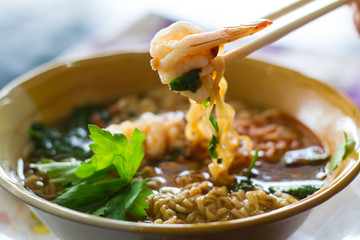 breakfast, thai style noodle, tom yum kung