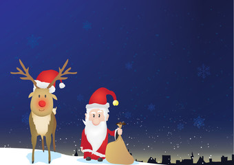 Santa Claus and Rudolph are going to give presents to the town. Town silhouette in background.