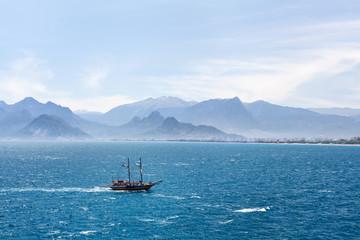 Beautiful view of Antalia harbor in old Turkey