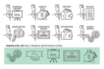 Set Icons in style flat line. Theme - Finance
