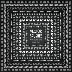 Vector Hand Drawn Balck Pattern Brushes, Borders, Frames