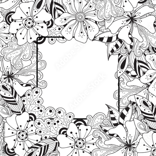 Hand drawn floral decorative element  Black and white vector