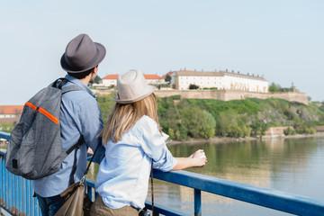 Tourists enjoy the view
