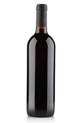 Red wine bottle isolated on white, clipping path included