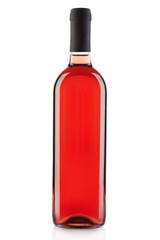 Rose wine bottle isolated on white, clipping path included