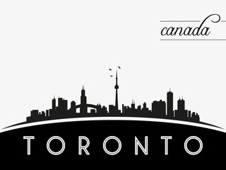 Toronto Canada skyline silhouette, black and white design, vector illustration