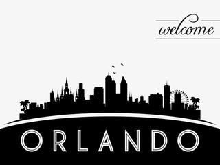 Orlando USA skyline silhouette, black and white design, vector illustration