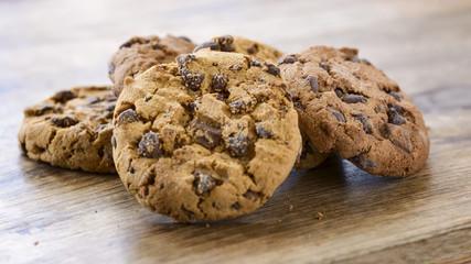 stack of american cookies on wood