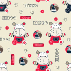 Seamless pattern with cartoon hippo