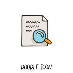 Doodle paper document icon. Pictograph of note. Single pictogram.