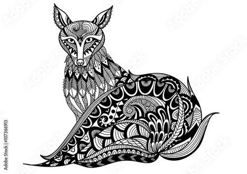 red fox line are design for tattoo t shirt design coloring book for adult
