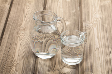 drinking water on wooden table