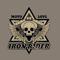 Skull biker. Iron Rider. Print for T-shirts and apparel. Rock