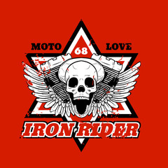 Skull biker. Iron Rider. Print for T-shirts and apparel. Rock