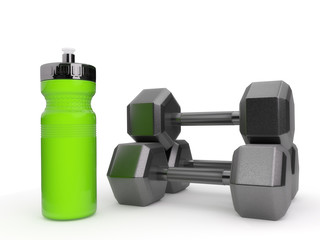 Dumbbells and Water Bottle