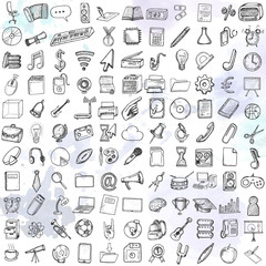 Hand drawn school icons set.