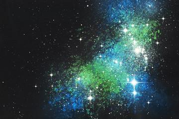 Fantasie Sternenwelt Sternenfleck Malerei mit Deckfarben auf Papier und digitale Weiterverarbeitung