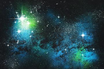 Fantasie Sternenwelt Grünblau Malerei mit Deckfarben auf Papier und digitale Weiterverarbeitung
