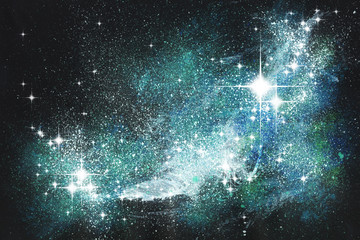 Fantasie Sternenwelt Malerei mit Deckfarben auf Papier und digitale Weiterverarbeitung