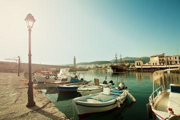 Greece. Crete Rethymnon, Boats, Sea and Restaurant. Impression o