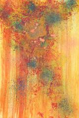 Kleine Malerei mit Deckfarben abstrakt gelb rot mit Flecken