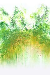 Kleine Malerei mit Deckfarben abstrakt grün mit Blättern