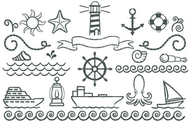 Nautical symbols. Set of symbols related topics sailors drawn with grunge strokes.