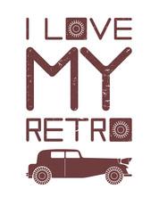 Styish image with red retro car