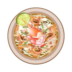 Plate of Green Papaya Salad with Shrimps