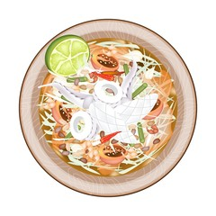 Plate of Green Papaya Salad with Cooked Squids