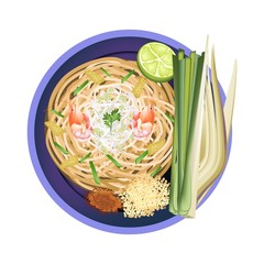 Pad Thai or Traditional Stir Fried Noodles with Shrimps