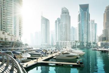 Obraz Dubai Marina o zachodzie słońca, Zjednoczone Emiraty Arabskie - fototapety do salonu