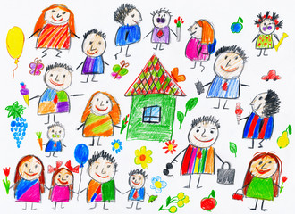 cartoon people collection, child drawing object on paper, hand drawn art picture
