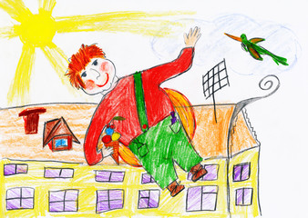 boy fly with airscrew on his back, child drawing object on paper, hand drawn art picture