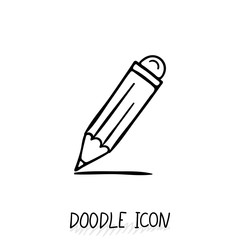Vector Doodle Pencil Icon. Pencil with eraser.
