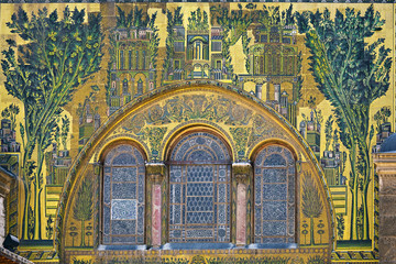 Syria. Damascus. Omayyad Mosque. Fragment of facade the prayer hall covered with rich mosaics