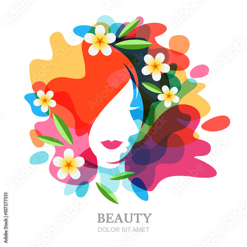 Female face and plumeria flowers on multicolor splash for Abstract beauty salon