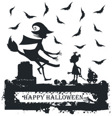 Black and white Halloween illustration with child and witch