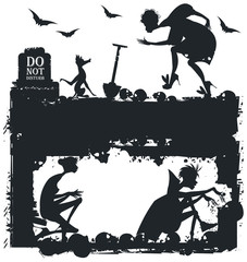 Black and white Halloween illustration with silhouettes