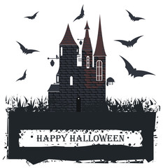 Halloween card with Stylish Witch Castle for your designs