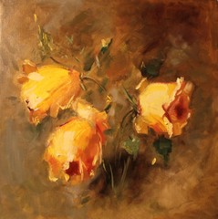 Art Oil Painting Picture Yellow Roses on Brown Background