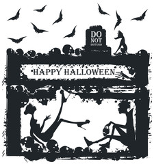 Halloween illustration with stylish silhouettes
