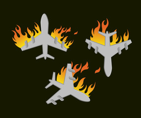 Plane Crash Vector Illustration Set