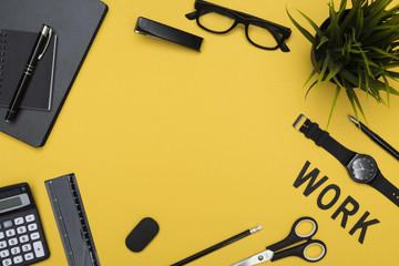 Office items hero header on yellow background