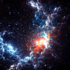 Abstract cosmic cloud, stars of a planet and galaxy. Fantasy background