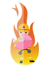 Superhero Firefighter Saves a Baby from Fire