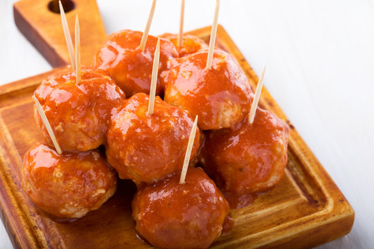 Chicken meatballs on skewers