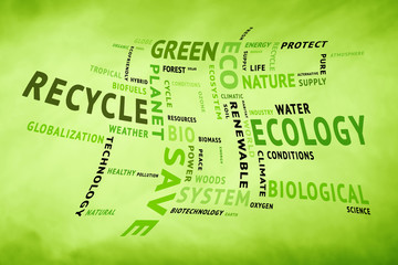Curved conceptual tag or word cloud on blurred yellow green background containing words related to ecology, environment, ecosystem, nature, etc. Square composition used.