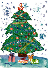 christmas fir tree with decoration and gifts, watercolor illustration, child drawing  on paper