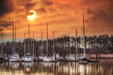 Boat marina on the Chesapeake Bay at sunset
